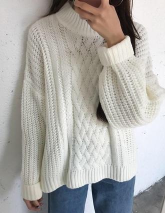 sweater girly white sweatshirt jumper knitwear knit knitted sweater