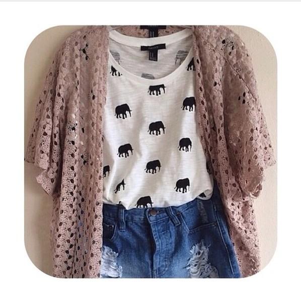 Sweater: knitted cardigan, shirt, elephant, shorts - Wheretoget