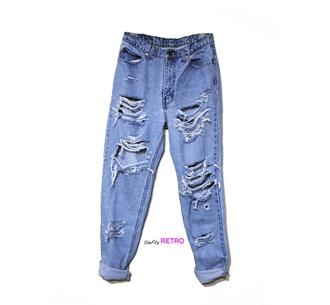 jeans high waisted jeans boyfriend jeans shredded denim shredded jeans grunge style 90s style denim ripped jeans