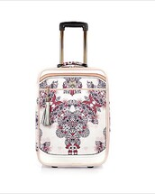 bag,suitcase,white,flowers,pink,print,colorful