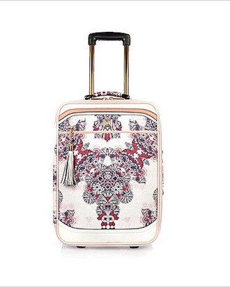 bag suitcase white flowers pink print colorful