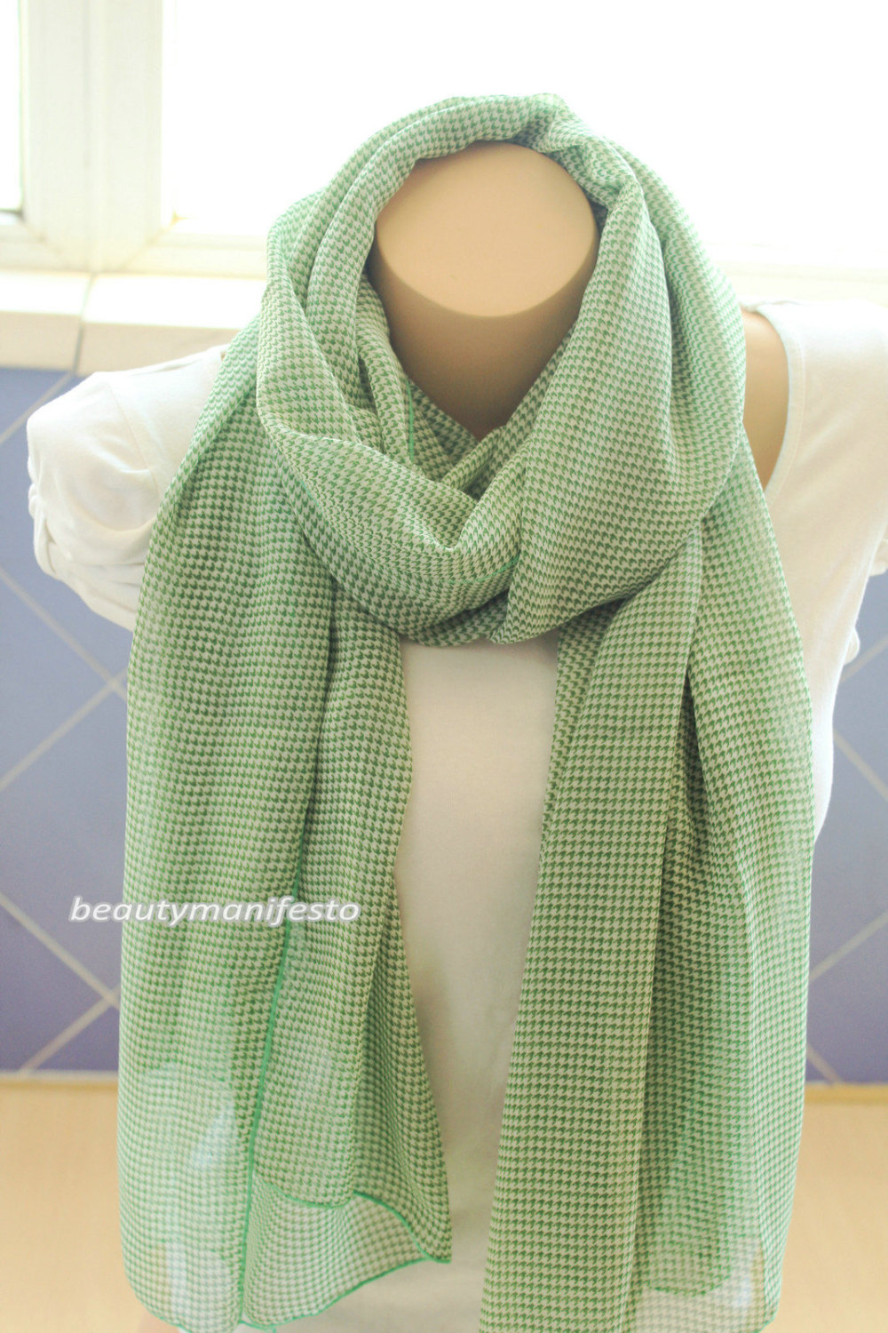 mint green fashion printed cotton gauze scarf infinity
