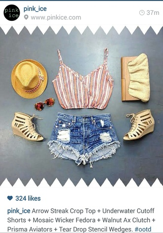 shorts summer shorts heels wedges summer wedges summer hats fedora clutch cute clutch wood clutch ootd sunnies shades sunglasses pinkice summer outfits distressed high waisted jeans tank top shirt