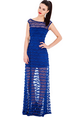 Scalloped Edged Lace Maxi Dress