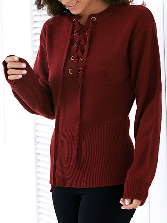 sweater fashion burgundy long sleeves lace up fall outfits trendy warm knitwear zaful