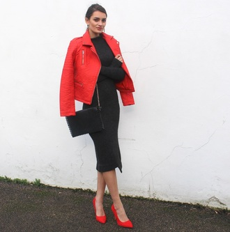 peexo blogger dress red jacket long sleeve dress red heels jacket shoes bag
