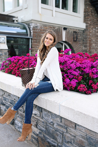 southern curls and pearls blogger top jeans shoes jewels make-up tote bag louis vuitton bag ankle boots peep toe boots cardigan fall outfits