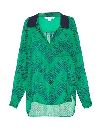 shirt print green top