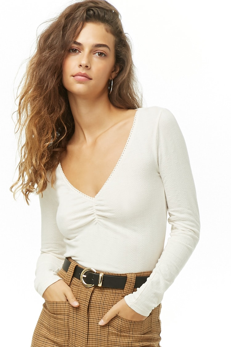 Ruched Ribbed Top