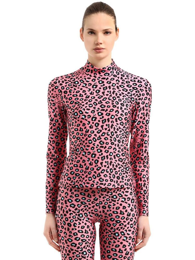VIVETTA Leopard Printed Stretch Lycra Top in pink