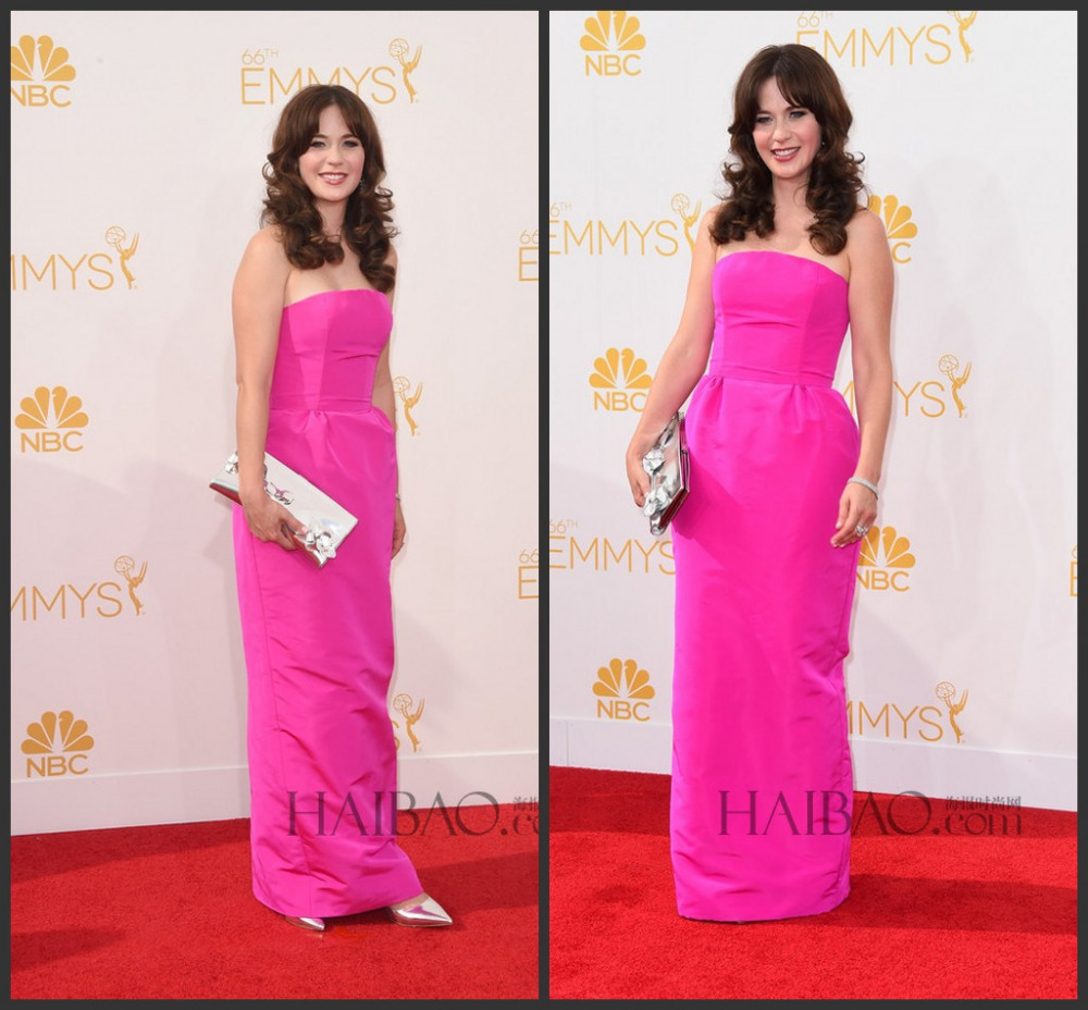 Aliexpress.com : buy zooey deschanel fuchsia pink prom dress emmy awards 2014 sexy strapless long celebrity dresses red carpet dress from reliable carpet music suppliers on suzhou babyonline dress store