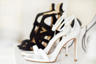 shoes white high heels open toes black classy fashion girly style sandal heels