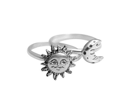 Sonne und mond stapeln ring, zwei sterling silber ringe, geschenk f