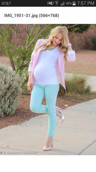 maternity aqua pastel jeans