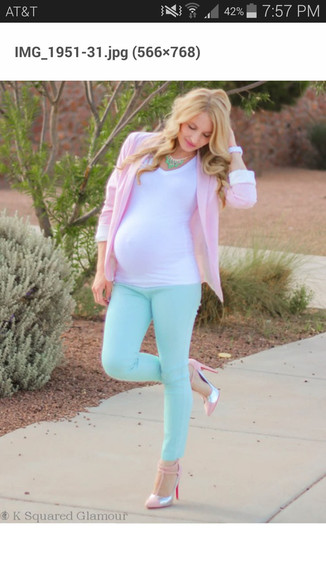 pastel pregnancy aqua jeans
