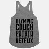 shirt,couch potato,netflix,crop tops,top,gray tanktop