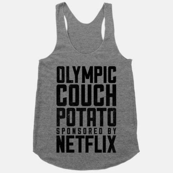 shirt couch potato netflix crop tops top gray tanktop