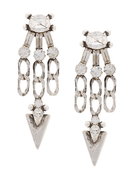 dannijo women earrings silver grey metallic jewels
