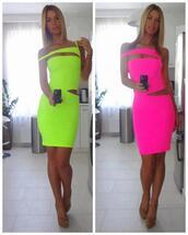cut-out,sexy dress,neon dress,neon pink,neon green,bag,neon,fluo,dress,dess,hot pink dress