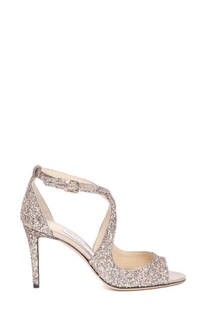 Jimmy Choo glitter sandals metal shoes