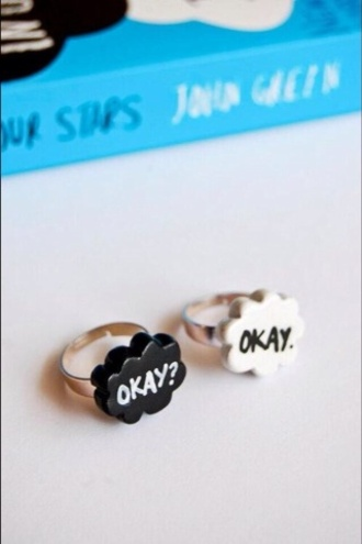 jewels cute ring jewelry tumblr blue white black the fault in our stars john green