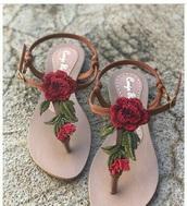 shoes,rose sandels,rose,sandels,roses,sandals,flip-flops,brown flip flops