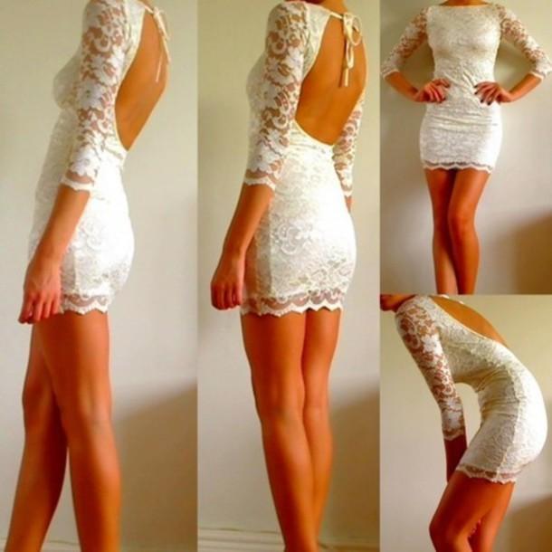 white dress long sleeves open back mini dress lace dress white lace long sleeve dress dress backless dress