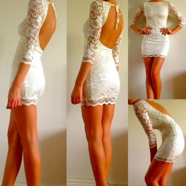 white dress long sleeves open back mini dress lace dress white lace long sleeve dress dress backless dress