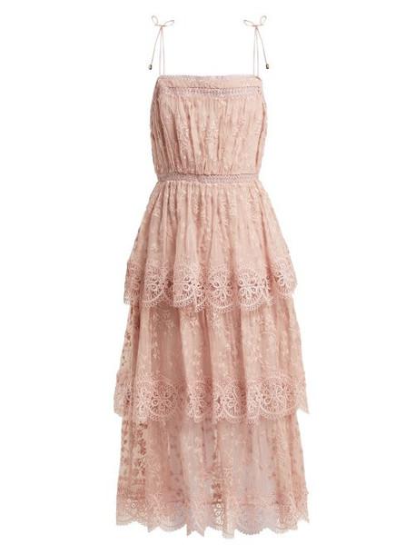 Zimmermann - Castile Embroidered Silk Chiffon Dress - Womens - Light Pink