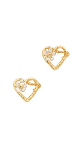 heart baby earrings stud earrings gold silver jewels