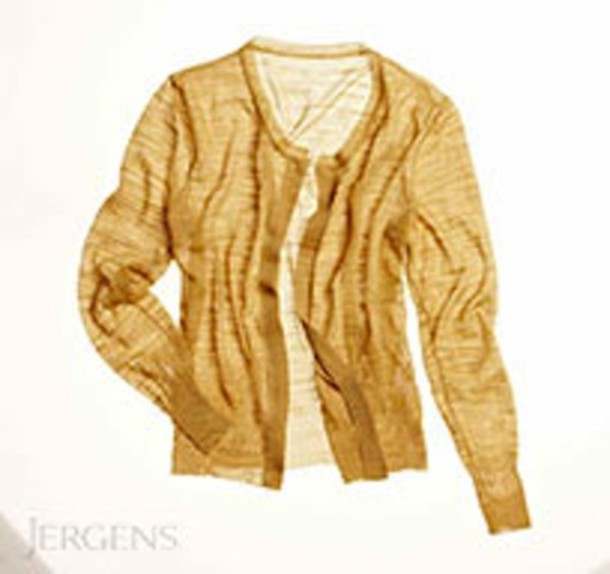 Sweater: cardigan, gold, sheer - Wheretoget