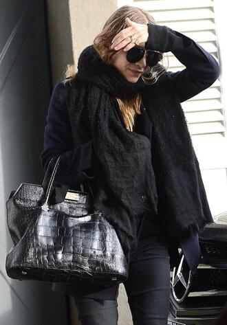 olsen sisters blogger sunglasses scarf crocodile leather bag