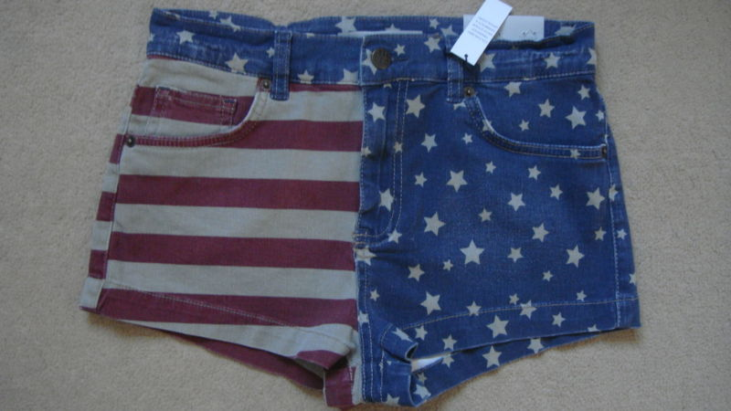 Topshop american flag high waisted shorts w28 uk10 on ebay (end time  10