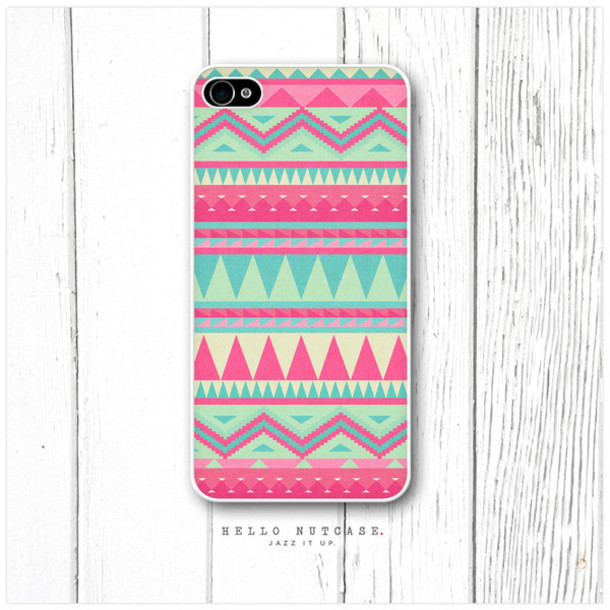 jewels phone cover pink blue navajo