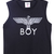 Black Sleeveless BOY Eagle Print Vest - Sheinside.com