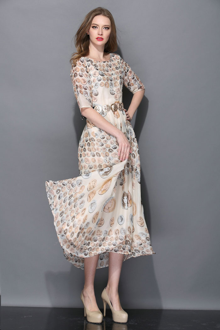 Star Catwalk Fashion Show Retro Printing Chiffon Dress With Belt [DLN0885] - PersunMall.com