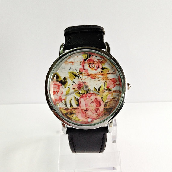 Floral on Wood Watch  Vintage Style Watch Shabby Chic by FreeForme