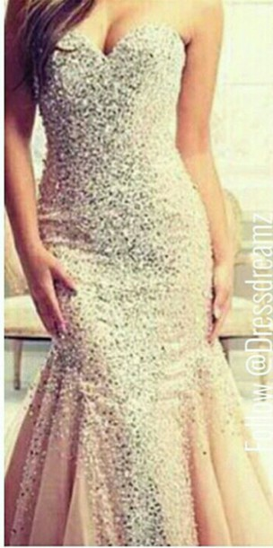 Dress Wedding Party Prom Sparkle Bling Champagne