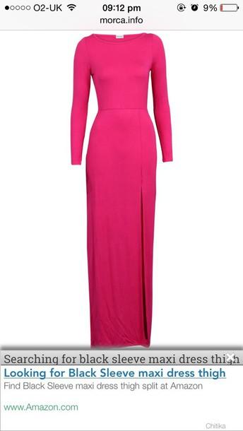 dress pink dress maxi dress slit dress