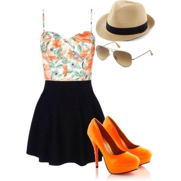 dress floral and black dress