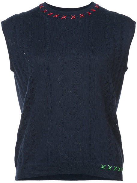 Carven vest cropped women blue jacket