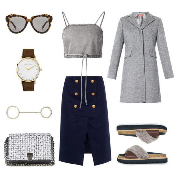 oracle fox blogger sunglasses crop tops grey coat navy outfit top coat skirt bag jewels