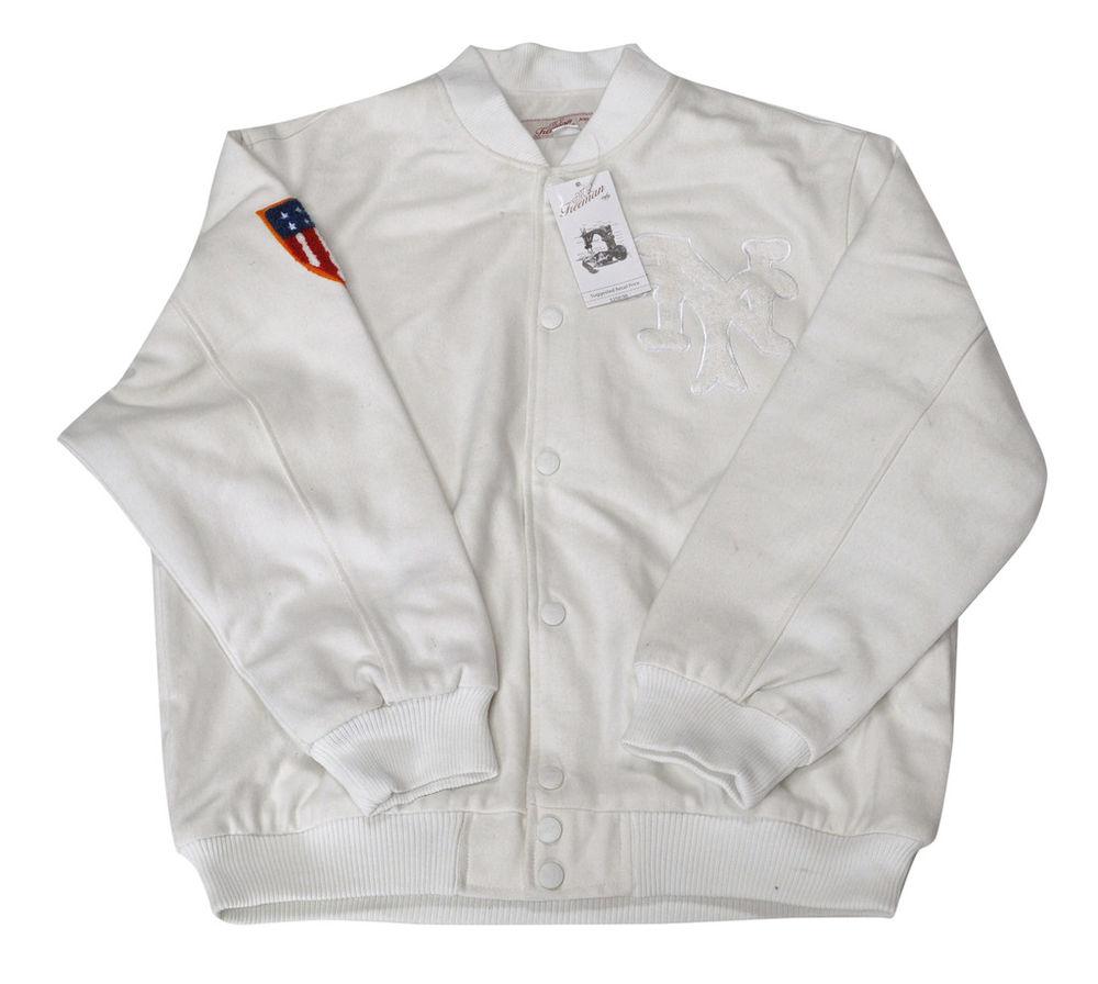 New York NY White Varsity Baseball Jacket