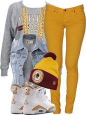 jacket,jeans,air jordan,bijoux,bonnet,pants,veste,veste en jean hollister,sans manche,shoes,shirt,hat,mustard,jordans,tam,denim jacket,sleeveless,sweater,chain,gold,socks