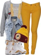 jacket,jeans,air jordan,bijoux,bonnet,pants,veste,veste en jean hollister,sans manche,shoes,shirt,hat,mustard,jordans,tam,denim jacket,sleeveless,sweater,chain,gold,socks