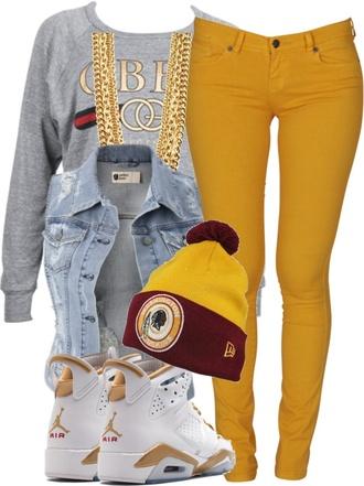 jacket pants mustard jordans tam denim jacket sleeveless sweater chain gold