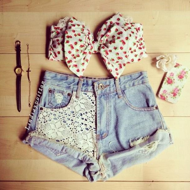 2f084f528091e5 shirt bow bandeau bikini summer top lace vintage bralette bralette beach  shorts