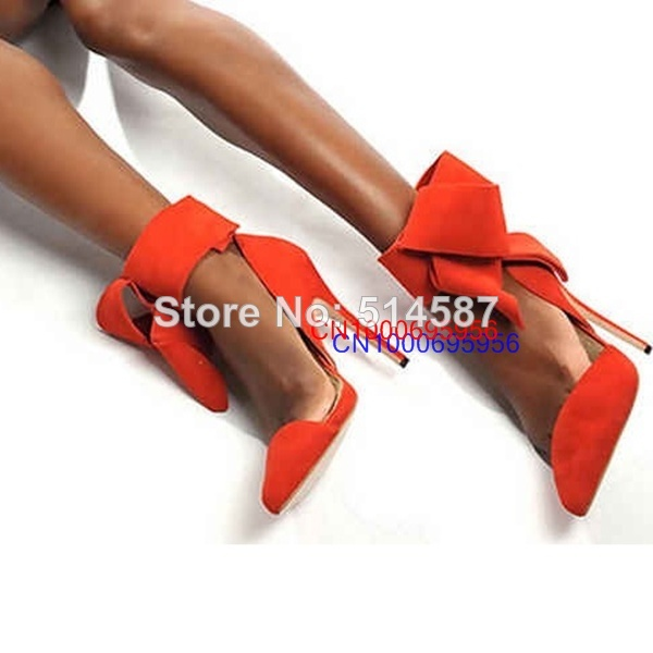 New women big bow tie pumps pointed toe high heel sadnals suede gladiator sandals orange pink green blue black dress shoes-in Pumps from Shoes on Aliexpress.com