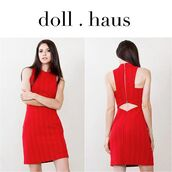 dress,red dress,knitted dress,fashion,style,blogger,fashion blogger,red,red knit dress,bodycon,shopdollhaus,new