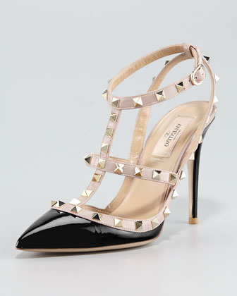 Valentino Rockstud Patent Sandal, Black - Neiman Marcus